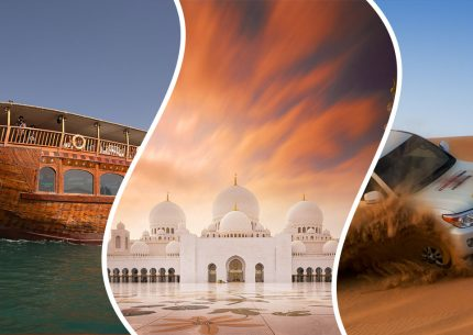 Combo Tour: Abu Dhabi Desert Safari, Grand Mosque & Dhow Dinner