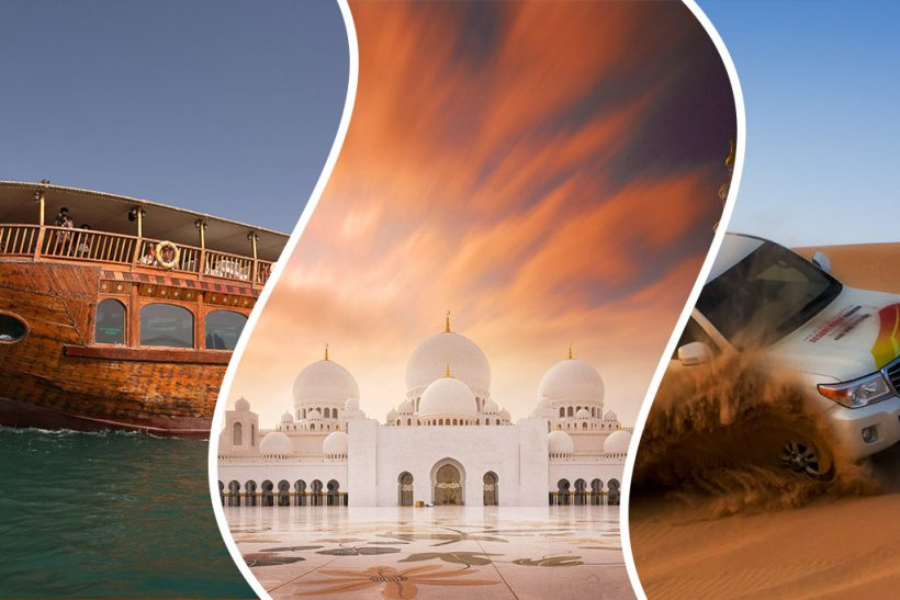 Abu Dhabi Combo Tour: Desert Safari, Grand Mosque & Dhow Dinner